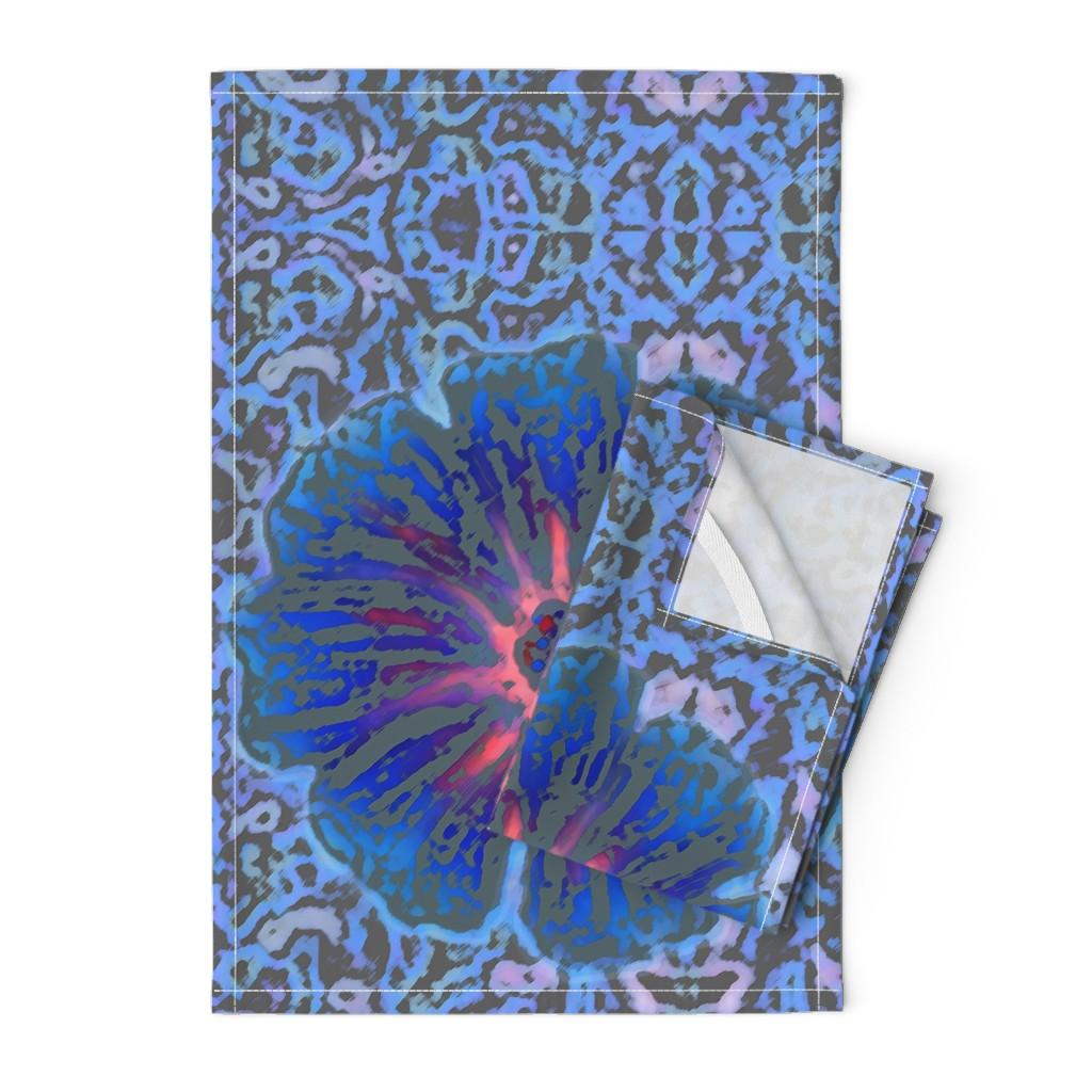 Orpington Tea Towels featuring Grande Indigo Blue Batik by clearwaterzstudio