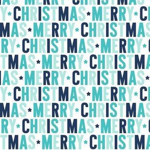 merry christmas navy + teal UPPERcase