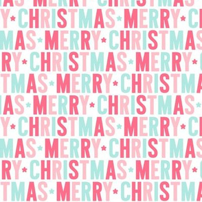 merry christmas pink + teal UPPERcase