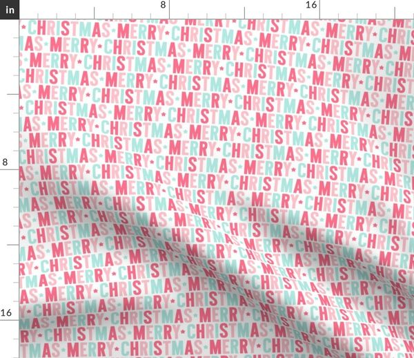 It Christmas Merr Christmas.Fabric By The Yard Merry Christmas Pink Teal