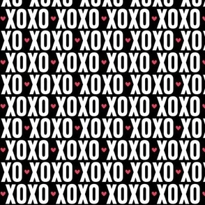 xoxo black and white + red hearts reversed UPPERcase