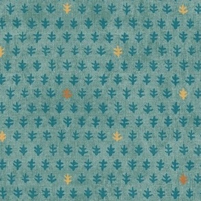 Bali Block Print - Teal, Copper and Gold