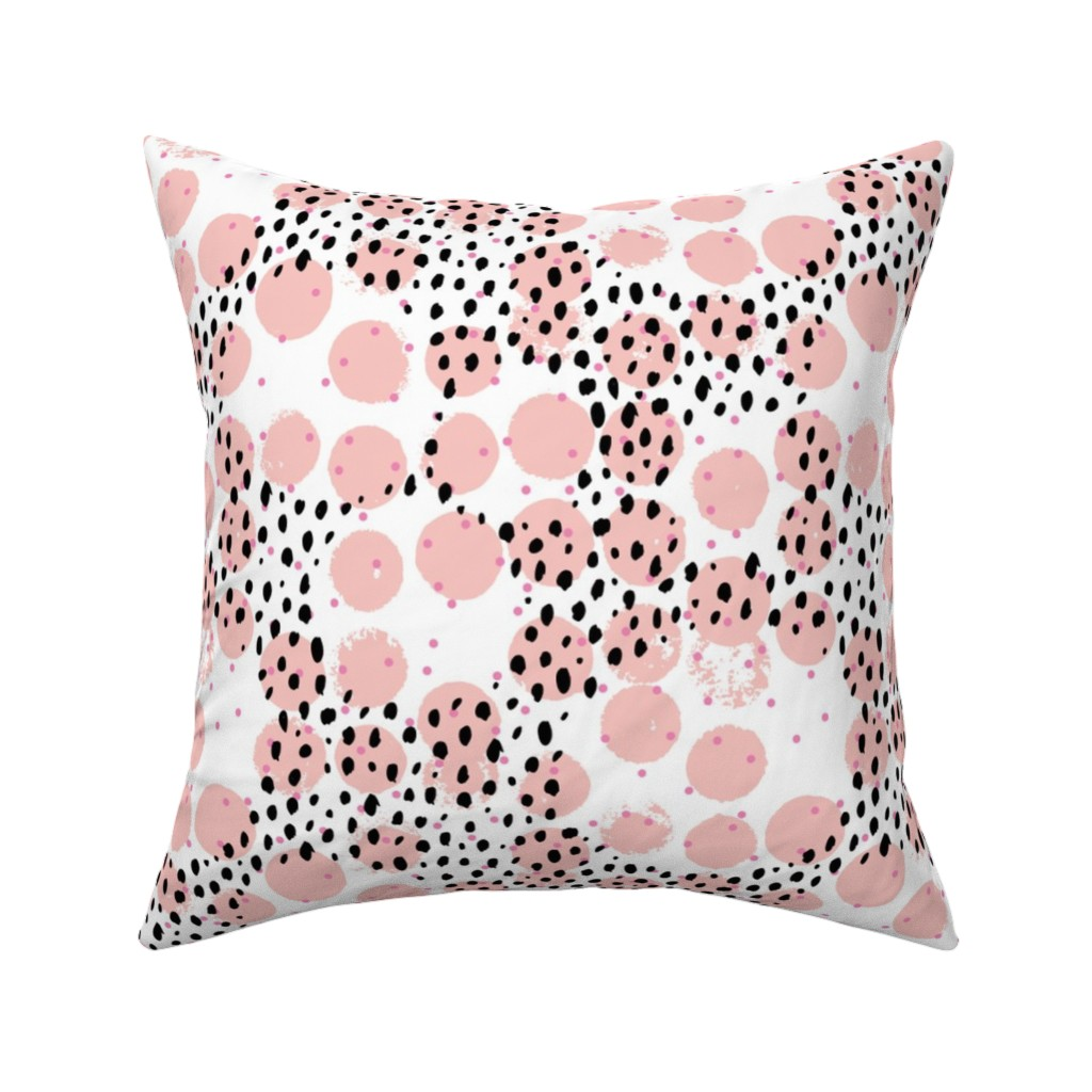 Catalan Throw Pillow featuring Abstract rain raw brush spots and dots cool trendy pastel print LA style pink by littlesmilemakers