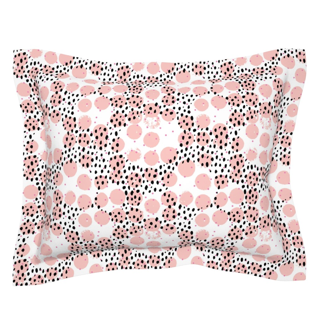 Sebright Pillow Sham featuring Abstract rain raw brush spots and dots cool trendy pastel print LA style pink by littlesmilemakers
