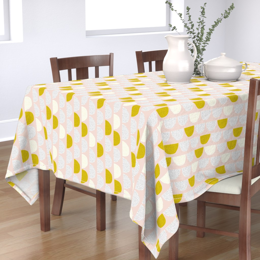 Bantam Rectangular Tablecloth featuring Scandinavian retro moon phases circles soft pastel moon gender neutral mustard by littlesmilemakers