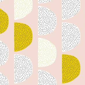 Scandinavian retro moon phases circles soft pastel moon gender neutral mustard