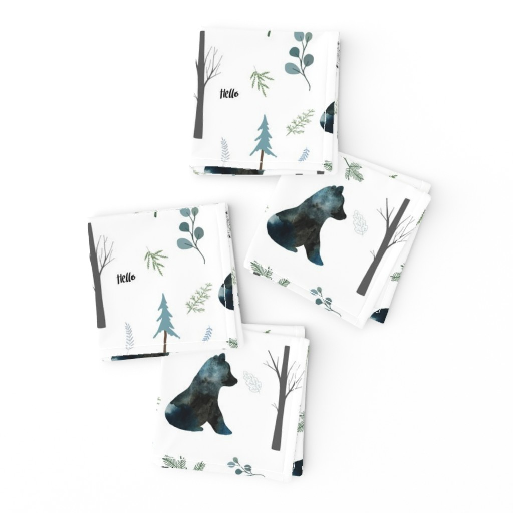 """Frizzle Cocktail Napkins featuring 8"""" Hello Winter Bear Silhouette by shopcabin"""