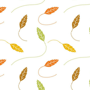 Fall Leaves, Green, Yellow, Orange, and Brown Autumn Leaves on White, Fall Colors