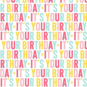 it's your birthday pink + teal + yellow UPPERcase