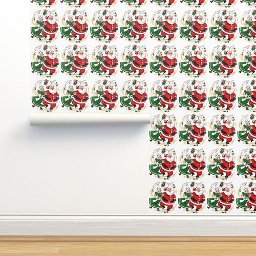 Wallpaper Merry Christmas xmas Mrs Santa Claus bows ribbons mistletoe  musical notes music dancing dance couples husband wife vintage retro kitsch