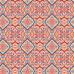 Red, Gold and Blue Ikat