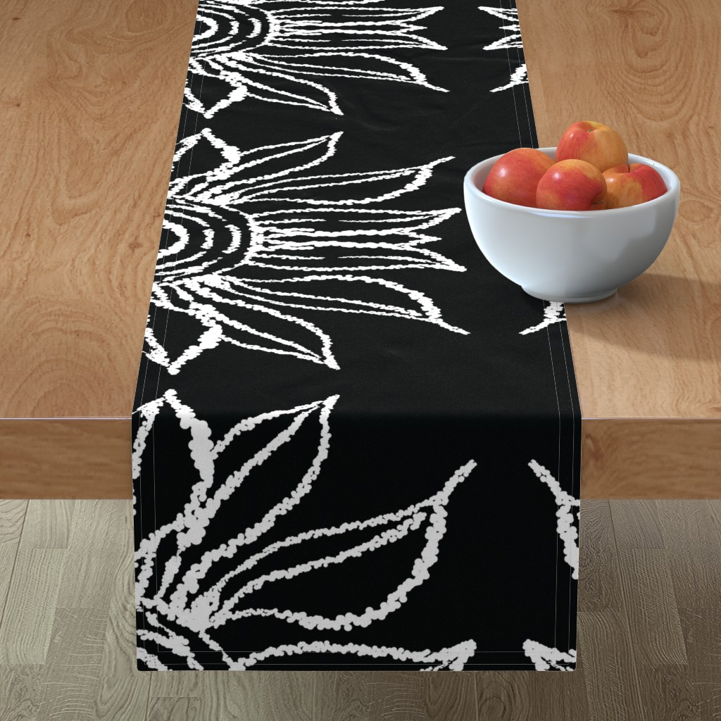 Minorca Table Runner featuring basic_flower_black_large by blayney-paul