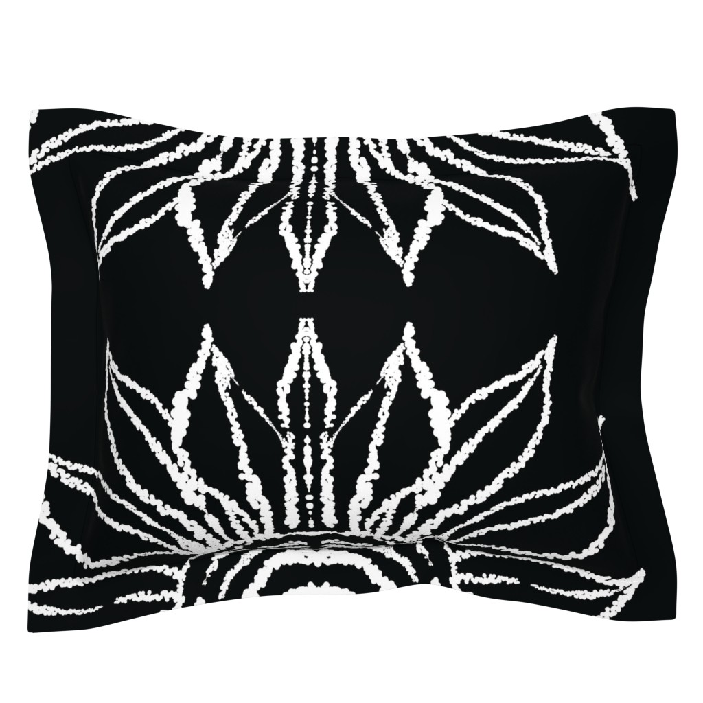 Sebright Pillow Sham featuring basic_flower_black_large by blayney-paul