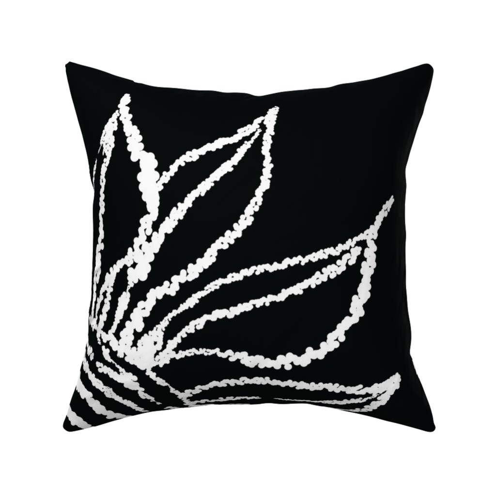 Catalan Throw Pillow featuring basic_flower_black_large by blayney-paul