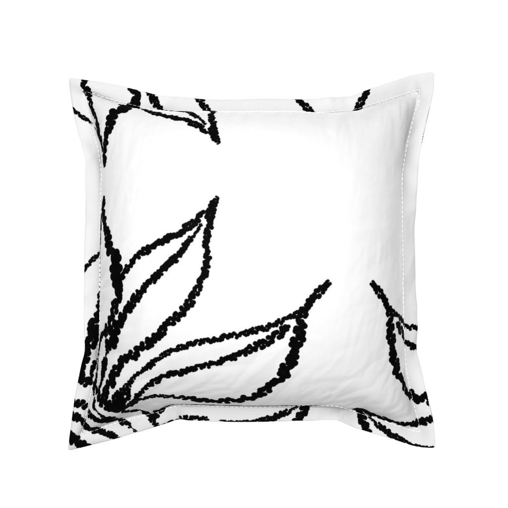Serama Throw Pillow featuring basic_flower_white_large by blayney-paul