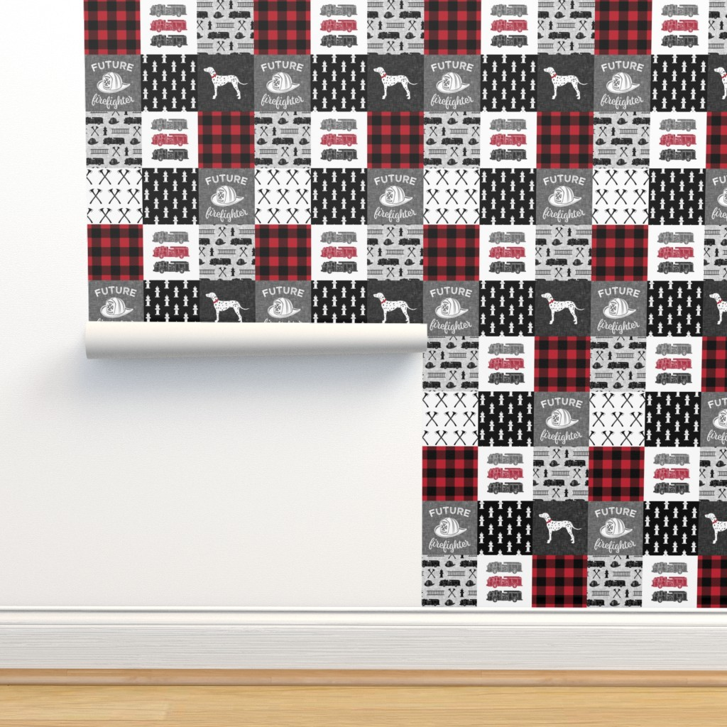 Isobar Durable Wallpaper featuring firefighter wholecloth - patchwork - red and black future firefighter by littlearrowdesign
