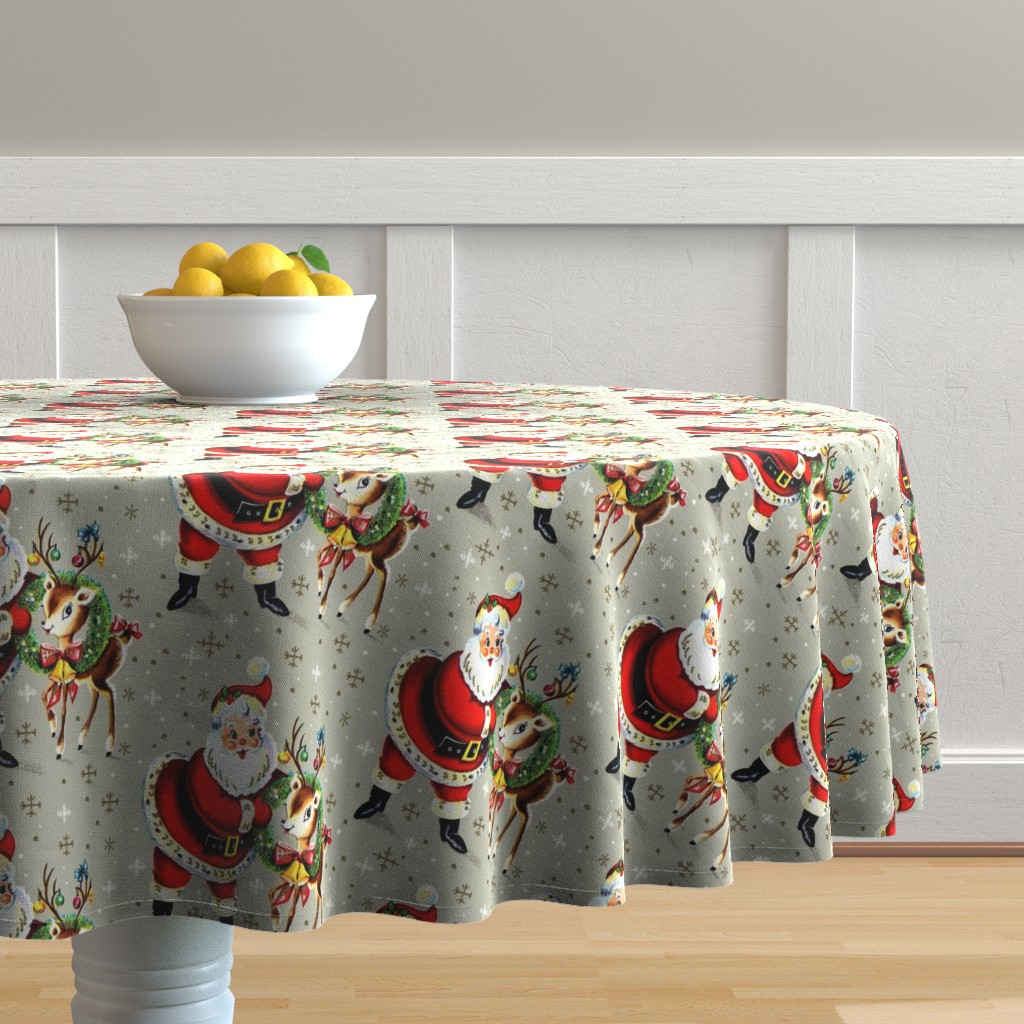 Malay Round Tablecloth featuring Merry Christmas xmas Santa Claus deer wreaths baubles bows bells ribbons snowflakes snow mistletoe vintage retro kitsch by raveneve