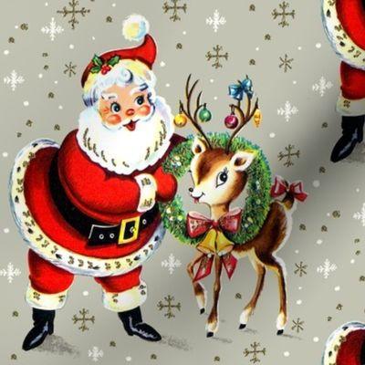 Merry Christmas Xmas Santa Claus Deer Wr Spoonflower