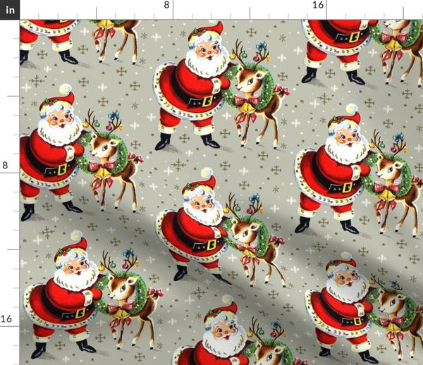 Vintage Merry Christmas.Fabric By The Yard Merry Christmas Xmas Santa Claus Deer Wreaths Baubles Bows Bells Ribbons Snowflakes Snow Mistletoe Vintage Retro Kitsch