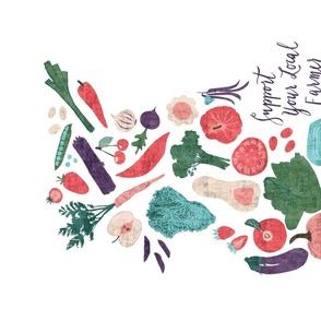 Farmer's Market - Eat Local- Tea Towel