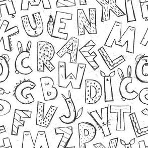 Cute alphabet / black and white
