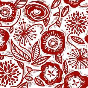 Linocut Leaves and Petals - Red