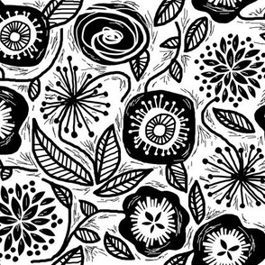 Linocut Leaves and Petals - Black & White