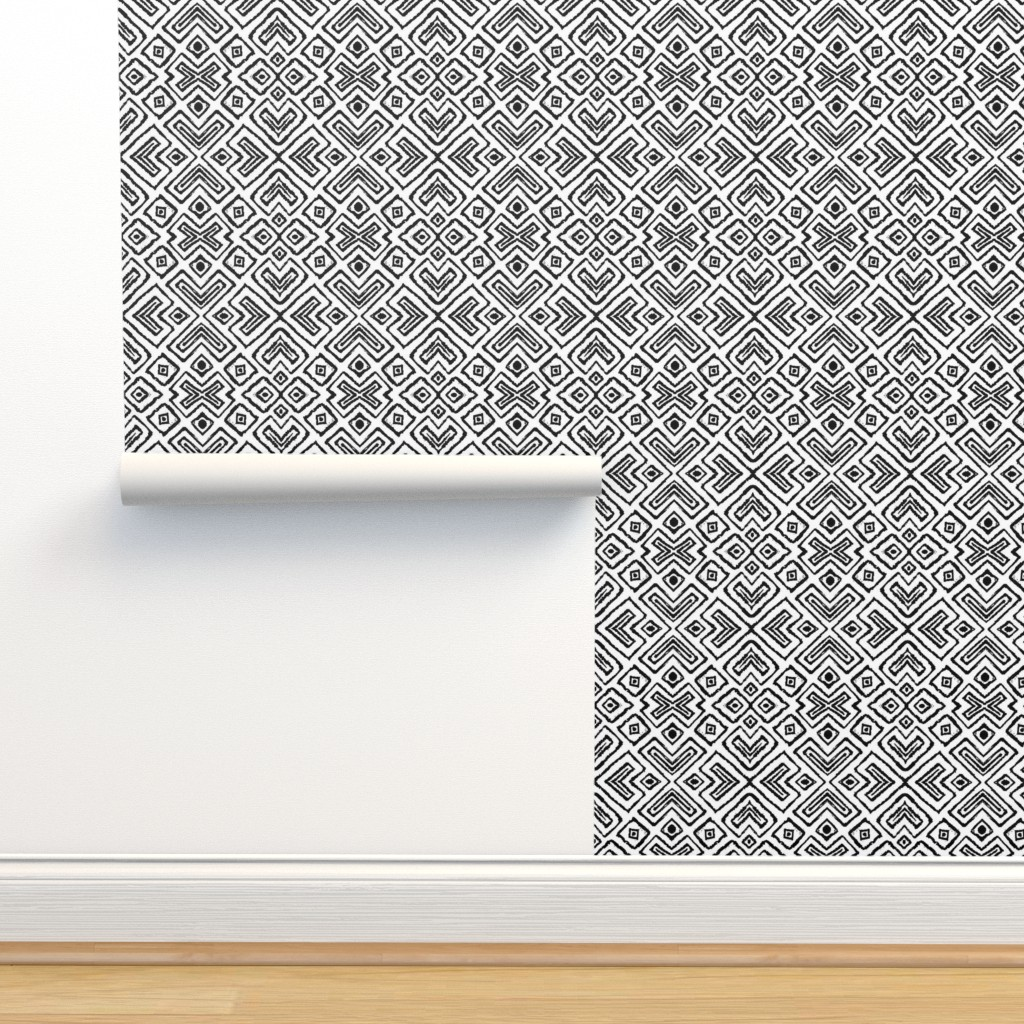 Isobar Durable Wallpaper featuring diamond_diagonal_white_small by blayney-paul