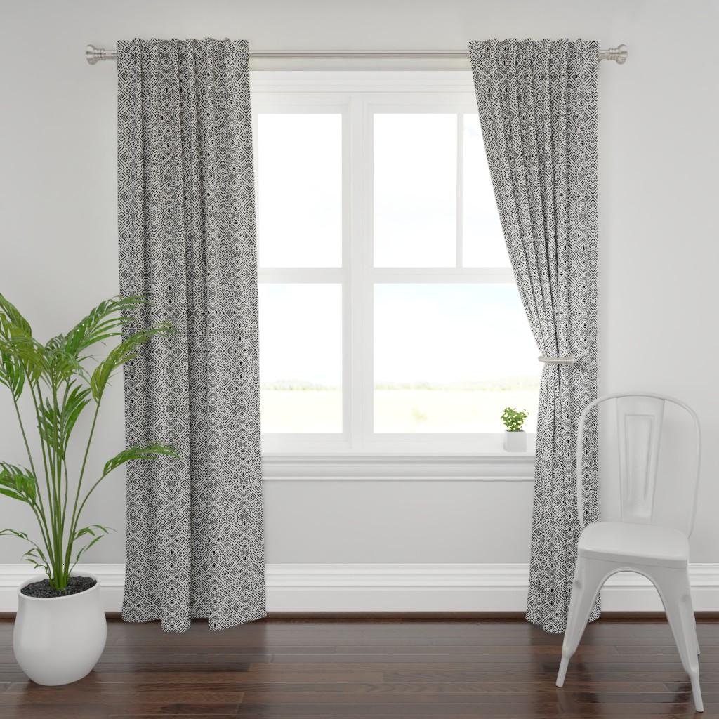 Plymouth Curtain Panel featuring diamond_diagonal_white_small by blayney-paul
