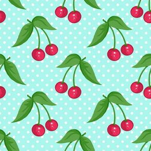 Cherry Ditsy Aqua