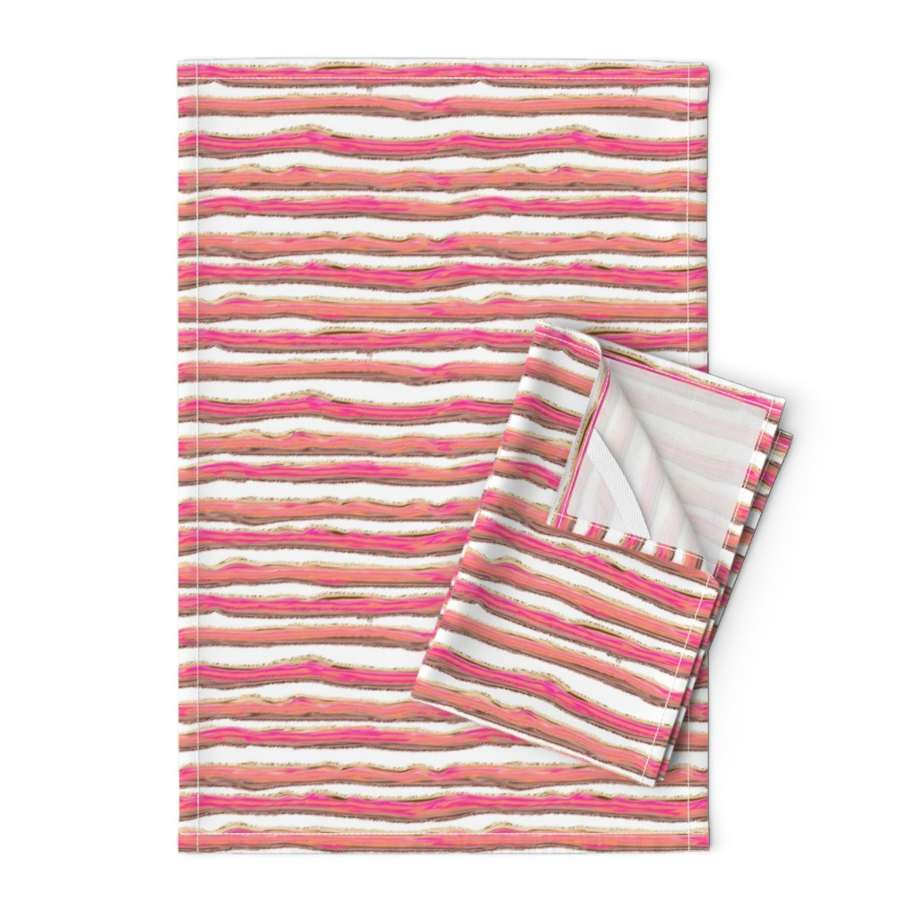 Orpington Tea Towels featuring ICE CREAM STRIPED BACKGROUND WHITE by paysmage