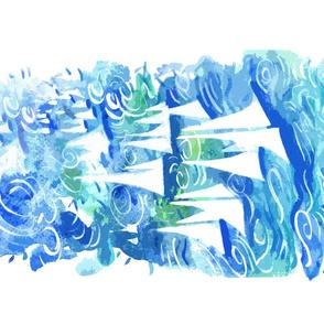 Art to Frame Blue Sail Regatta