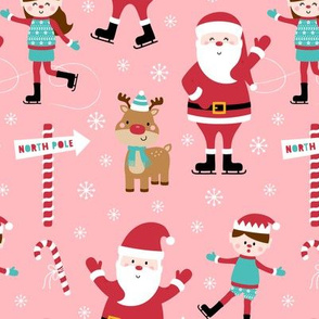 ice skaters pink :: cheeky christmas