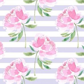Peonies on Lavender White Stripes