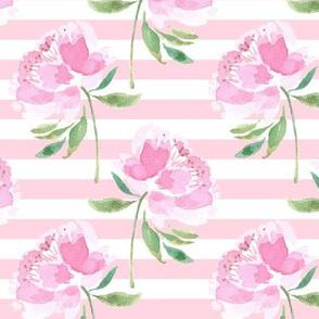 Peonies on Pink White Stripes