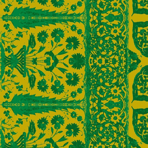 bosporus_tiles green gold silk crepe de chine