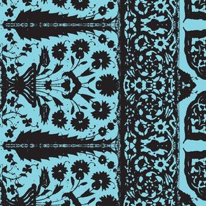 bosporus_tiles turquoise black silk crepe de chine