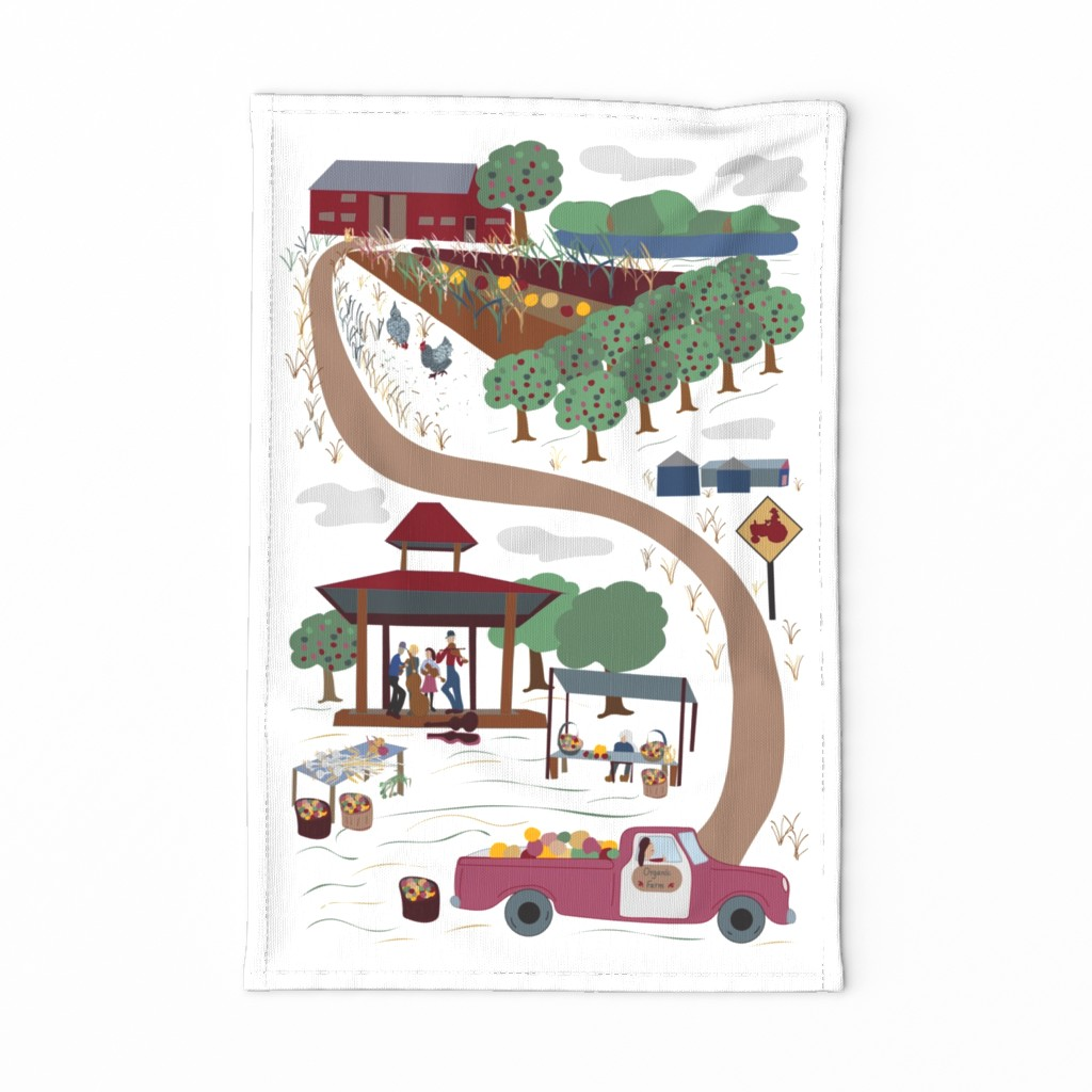 Special Edition Spoonflower Tea Towel featuring Farm to Market w/music!  Organic TeaTowel  by cleolovescolor