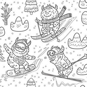 Skiing Yetis