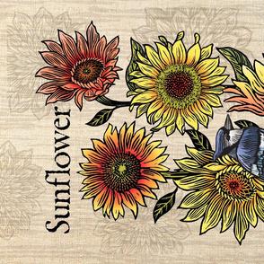 Sunflowers & Blue jay tea_towel_