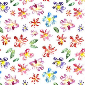 Hand drawn floral pattern, watercolor