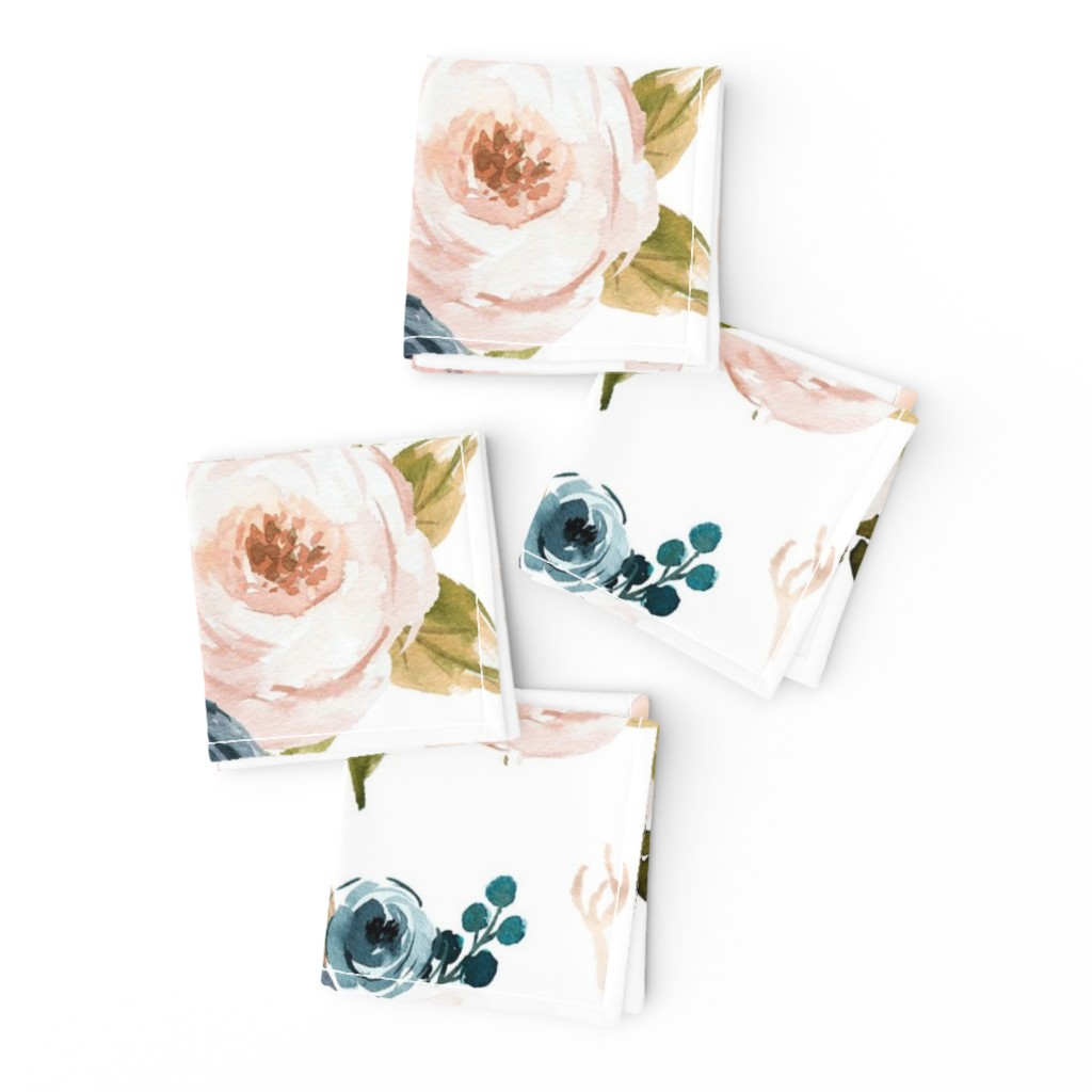 Frizzle Cocktail Napkins featuring Blush and Blue Floral Oversized by hudsondesigncompany