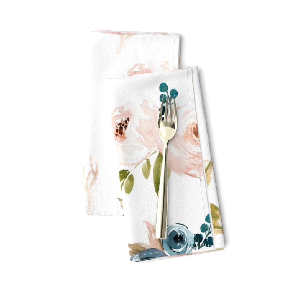 Amarela Dinner Napkins featuring Blush and Blue Floral Oversized by hudsondesigncompany