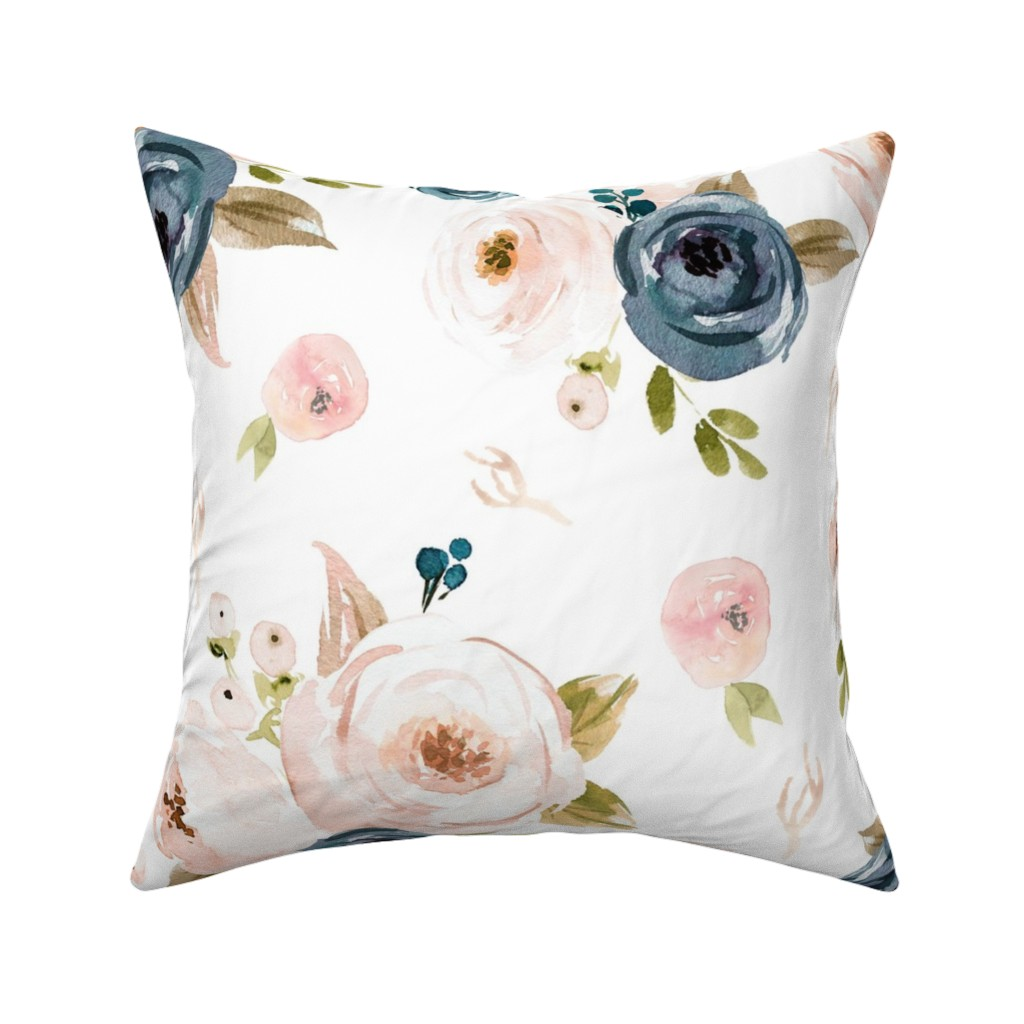 Catalan Throw Pillow featuring Blush and Blue Floral Oversized by hudsondesigncompany