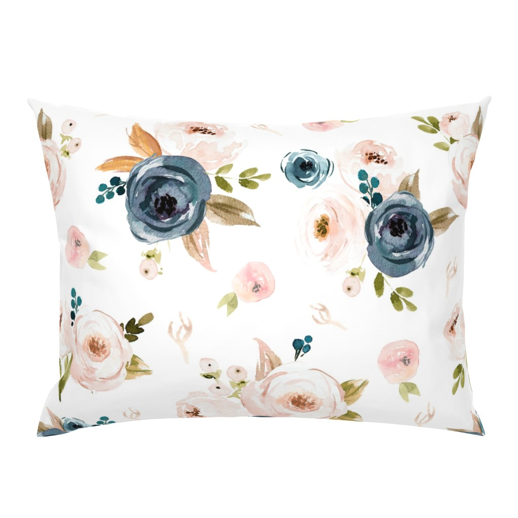 Campine Pillow Sham featuring Blush and Blue Floral Oversized by hudsondesigncompany