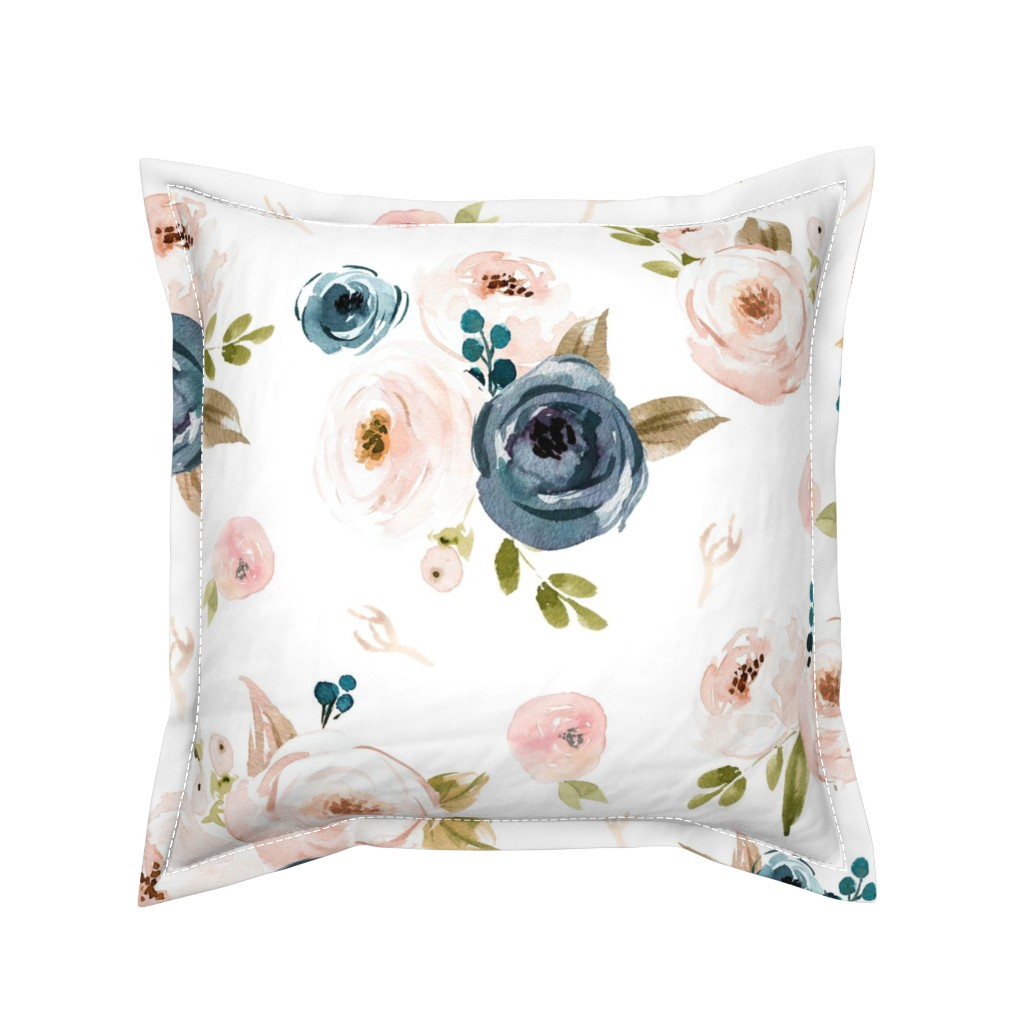 Serama Throw Pillow featuring Blush and Blue Floral Oversized by hudsondesigncompany