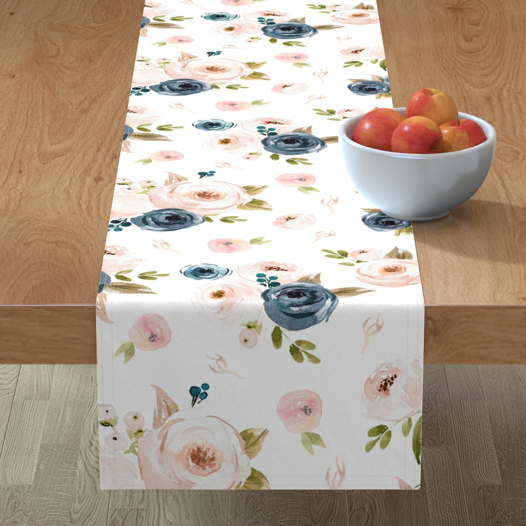 Minorca Table Runner featuring Blush and Blue Floral Oversized by hudsondesigncompany