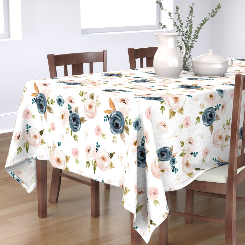 Bantam Rectangular Tablecloth featuring Blush and Blue Floral Oversized by hudsondesigncompany