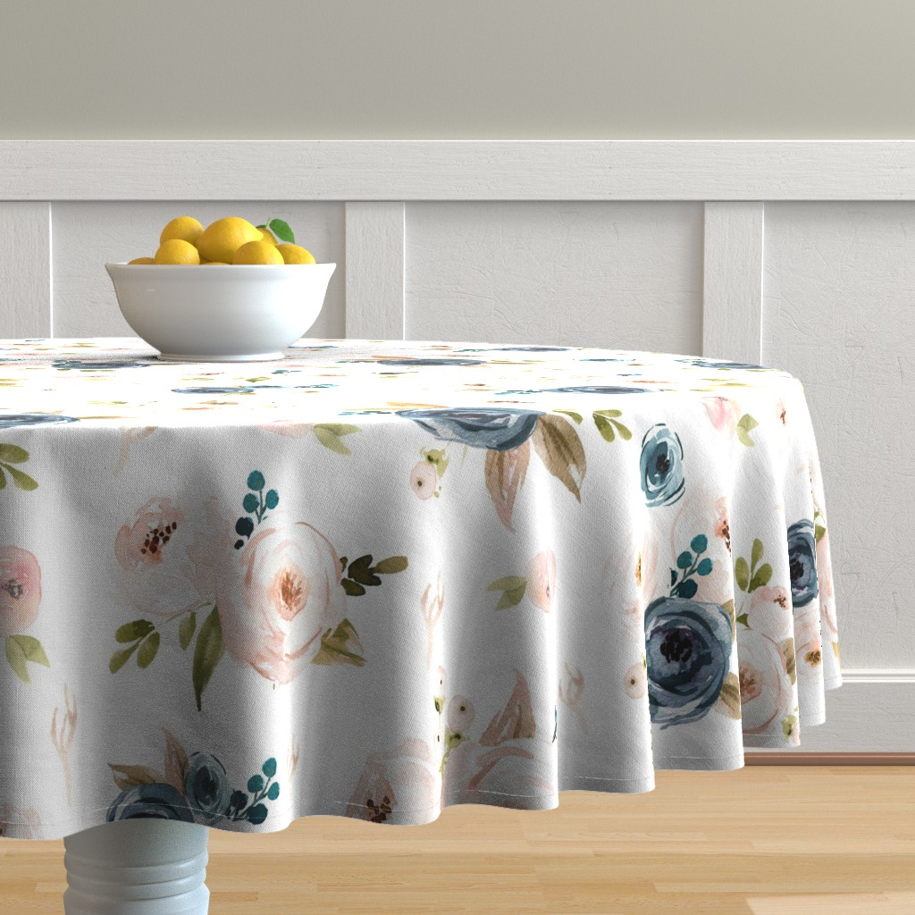Malay Round Tablecloth featuring Blush and Blue Floral Oversized by hudsondesigncompany