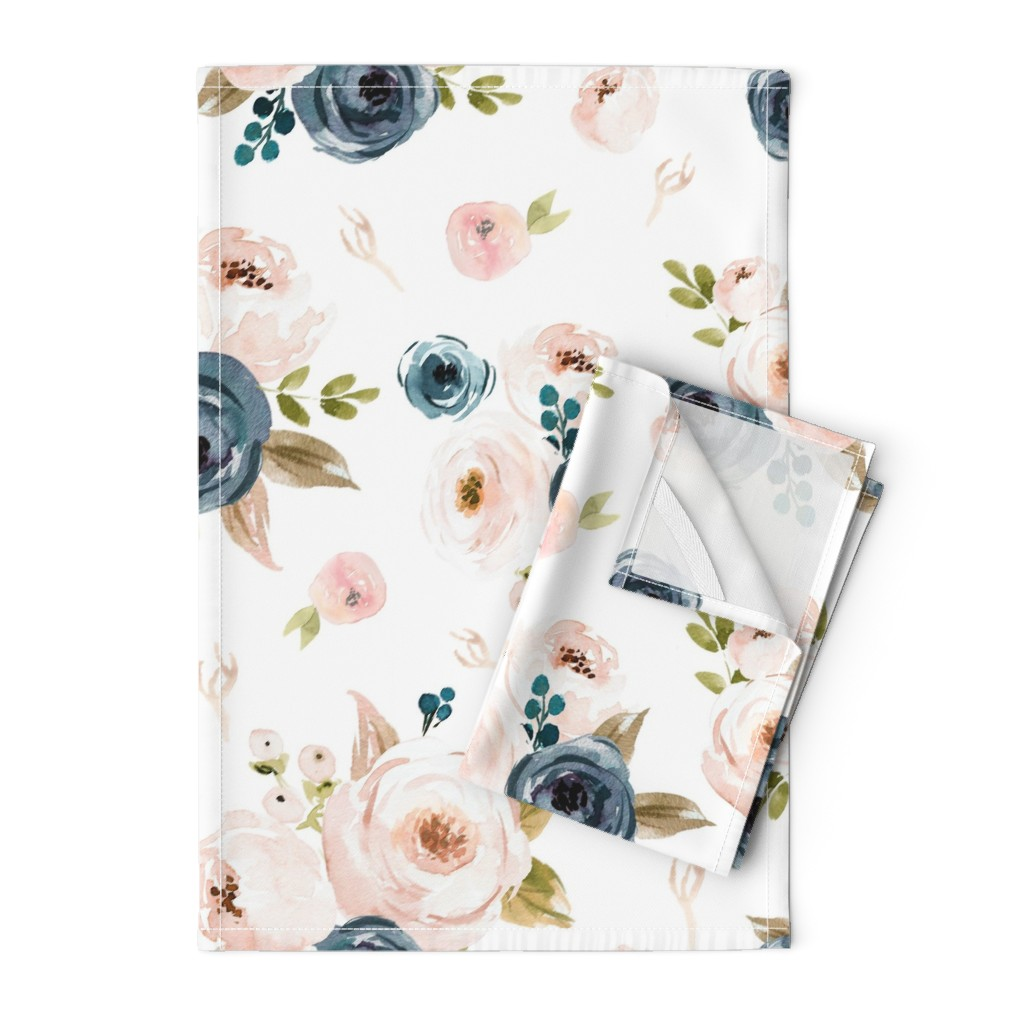 Orpington Tea Towels featuring Blush and Blue Floral Oversized by hudsondesigncompany